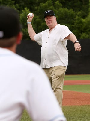 """Dennis Haskins, aka Mr. Belding from """"Saved By The Bell"""" throws out the first pitch prior to the start of the Renegades game at Dutchess StadiumJune 29, 2017."""