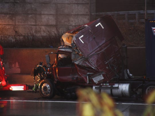 The damaged cab after a tractor-trailer jackknifed on northbound Interstate 95 in New Rochelle, Nov. 6, 2014.