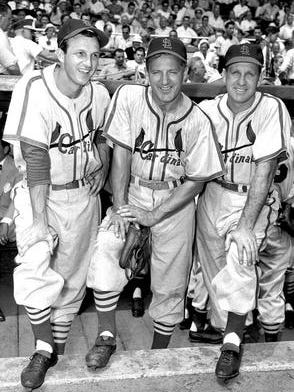 St. Louis Cardinals Hall of Famers Stan Musial (left) Joe Medwick and Enos Slaughter (right) on July 30, 1950, prior to a New York Giants and St. Louis Cardinals old-timers game in New York.