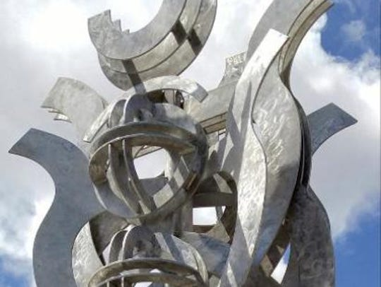 "David Shelton's public sculpture work includes ""Alpha"
