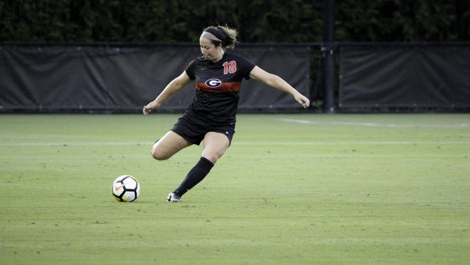 Georgia defender Natalie Goodman during the Bulldogs' exhibition match against Auburn University in Athens on Aug. 10, 2017.