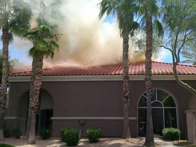 Authorities responded to a first-alarm fire in Scottsdale near Scottsdale and Bell roads Friday afternoon.