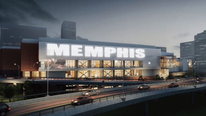 LRK/tvsdesign rendering of west-facing side of Memphis Cook Convention Center, after proposed $175 million overhaul