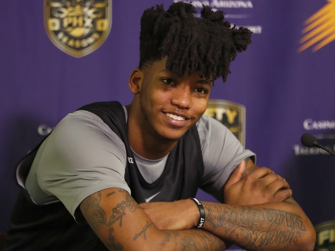 Suns' Elfrid Payton speaks to the press at his introductory