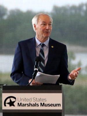 Governor Asa Hutchinson provides an update regarding Arkansas's COVID-19 response, Thursday, June 18, 2020, at the US Marshals Museum.