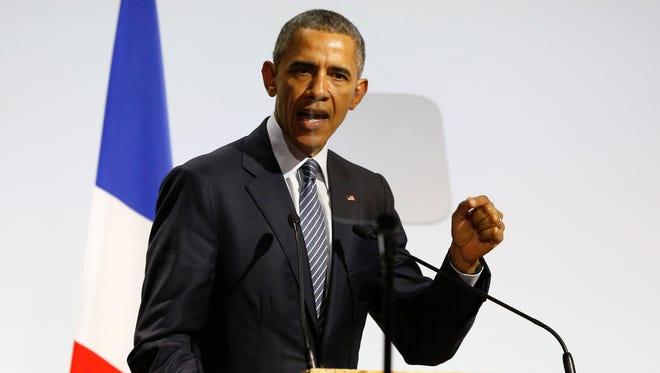 President Obama speaks at the United Nations Climate Change Conference in Le Bourget, France, outside Paris on Monday.