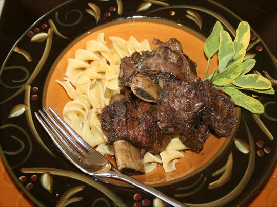 Maple Braised Short Ribs atop Browned Butter Noodles.