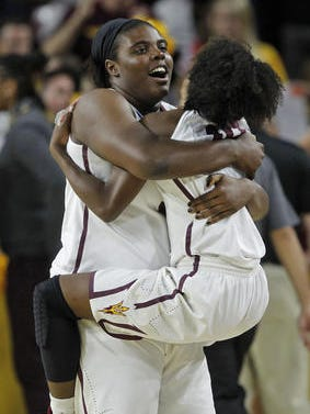 Sophomore center Ayanna Edwards, left, is leaving Arizona State women's basketball under a medical exemption that allows her to keep her scholarship and remain as a student.