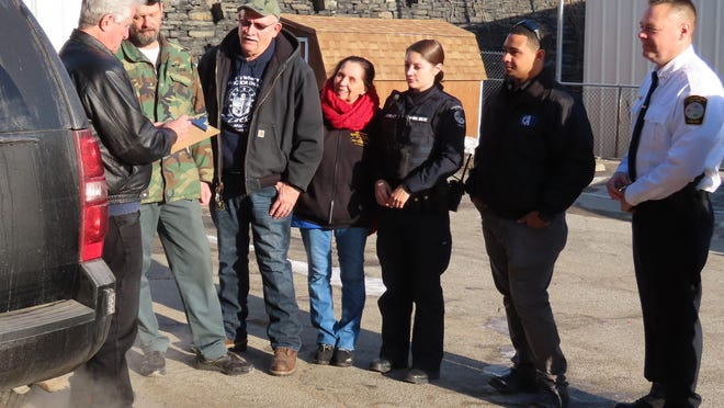 Those involved in conducting the Point-In-Time count in Port Jervis last week go over locations where they will stop to speak with the city's homeless.