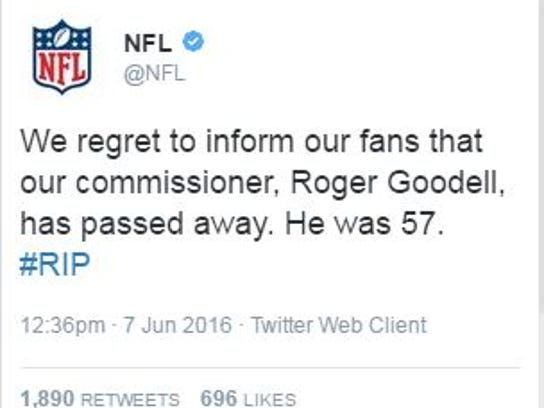 A screenshot of one of the tweets posted to the NFL