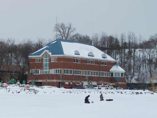 The U.S. Coast Guard station on Burlington's waterfront, photographed from the ice in 2014.