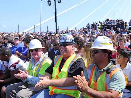 Bridge workers were among the guests that attended the opening ceremonies of the Gov. Mario M. Cuomo Bridge Aug. 24, 2017.