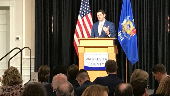 Paul Ryan speaks Saturday in Waukesha.