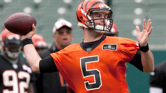 Bengals quarterback AJ McCarron during minicamp in June at Paul Brown Stadium.