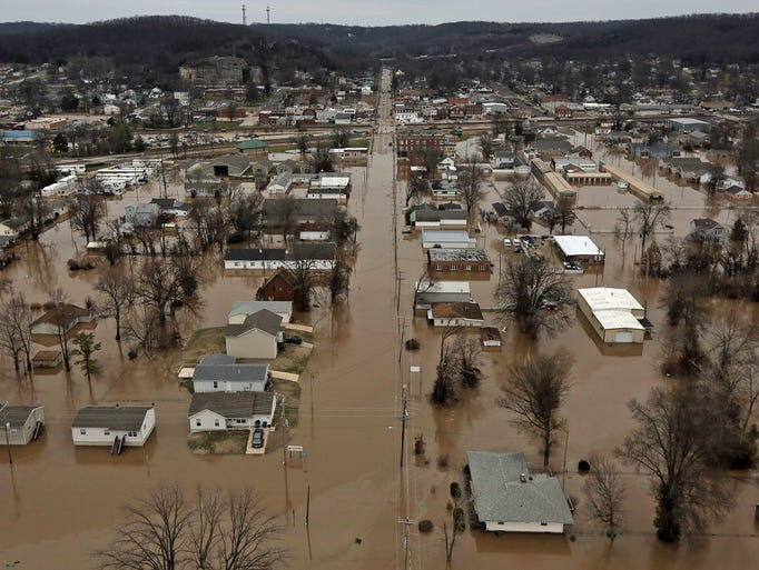 A northern view of homes flooded on Tuesday, Dec. 29,