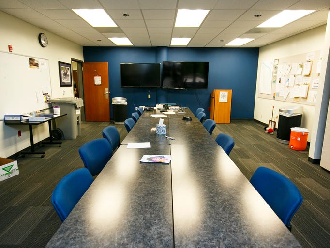 The briefing room at the Eugene Police Department on