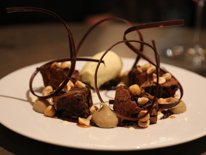 Hazelnut brownie sundae with espresso cream and vanilla