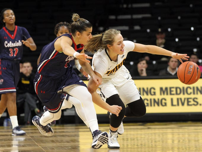Iowa's Kathleen Doyle steals the ball during the Hawkeyes'