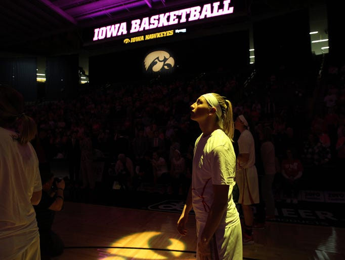 Iowa's Carly Mohns watches season highlights prior