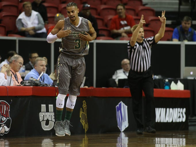 CSU's Gian Clavell reacts to making a 3-pointer during