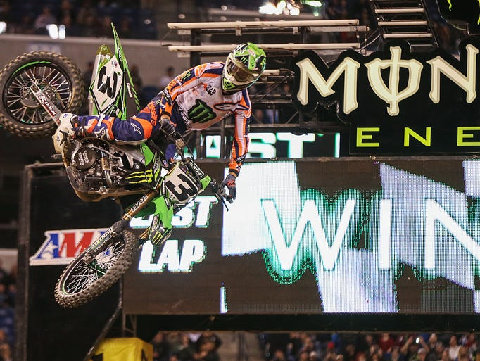 Eli Tomac (3), of riding a Kawasaki KX 450F, wins first