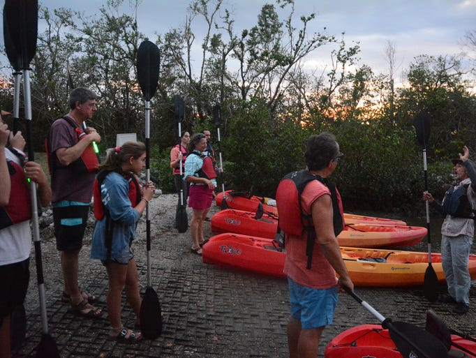 Guide Ron Wofford gives instructions before heading