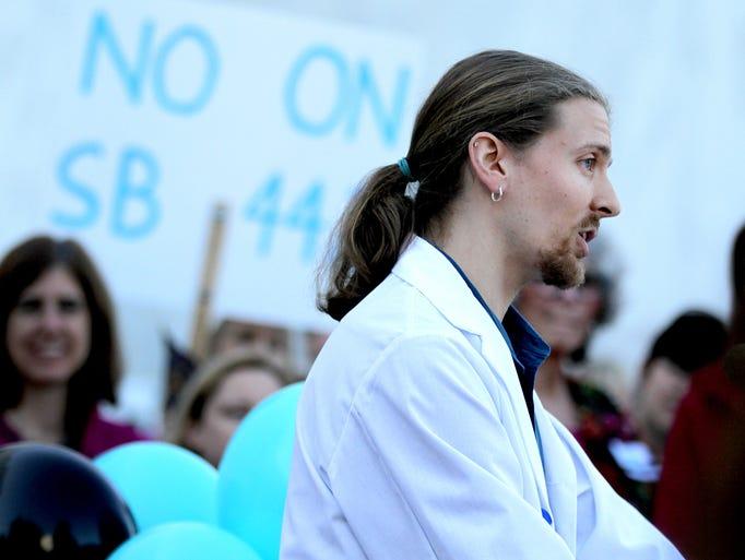 Michael King, a registered nurse in Portland, speaks