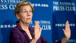 In this Nov. 18, 2015, file photo, Sen. Elizabeth Warren,