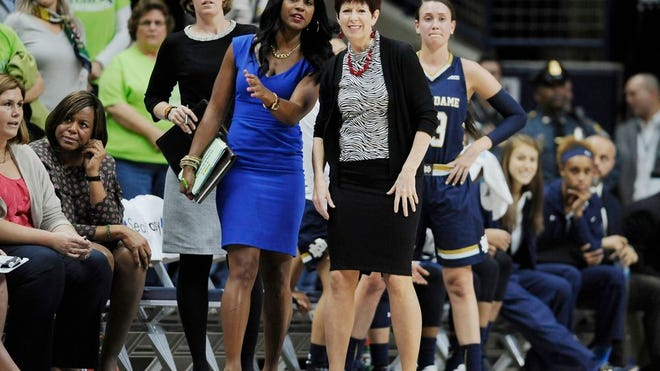 From Dec. 5, 2015, Notre Dame associate coach Niele Ivey, left, and head coach Muffet McGraw watch during the first half of an NCAA college basketball game against UConn in Storrs, Conn. Ivey is ready to take over a Notre Dame program where she spent 17 years as a player and assistant coach. Ivey follows her mentor Muffet McGraw , who retired after 33 years at the school Wednesday, April 22, 2020.