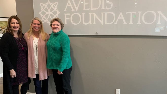 Pictured, from left, are Dr. Kathy Laster, president and CEO of the Avedis Foundation; Cindy Lee, LCSW Halo Project executive director; and Tracy Meeuwsen, program director of the Avedis Foundation.