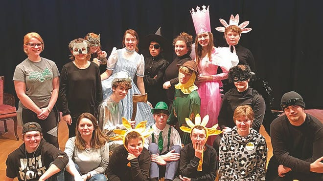 "The cast and crew from ""Chose Your Own Oz"" include back row from left- Bella Barker, Cassie Whitson, Deja Smith, Alyssa Green, Graciela Garcia, Selena Bale, Kahrie Stegman, and Jackson Baker. Front row from left: Andrew Van Slyke, Natalie Miller, Rafe Donnenwerth, Blake Bare, Darrian Cox, Caleb Powell, Jesse Kemper, Tessa Schmidt, Jenna Harbaugh, and Derrick Newby. Not pictured: Donovan McAbee."