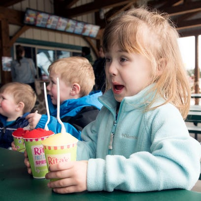 Bailey Sponsoer, 4, gets excited as she choses her