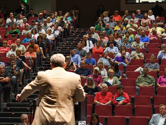 Anderson County Councilman Ken Waters speaks to a large crowd during a town hall meeting on zoning and incorporation at Powdersville High on Thursday, August 31, 2017.