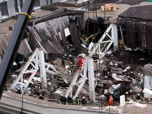 AP APTOPIX Latvia Roof Collapse