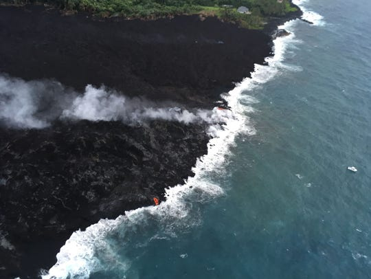 Image from the U.S. Geological Survey shows latest lava flows from the Kilauea volcano on May 29, 2018.