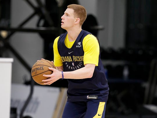 Villanova's Donte DiVincenzo works out at the Indiana Pacers pre-draft workout at the St. Vincent's Center