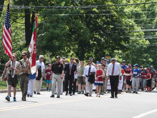 The Boy Scouts lead the way during the annual Memorial Day Parade.