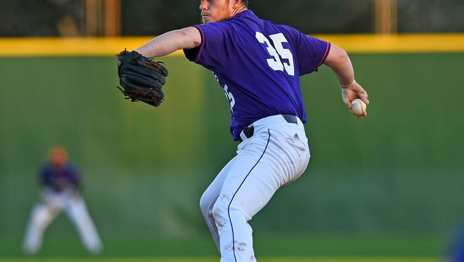 Northwestern State's Adam Oller winds up to throw a pitch earlier this season.