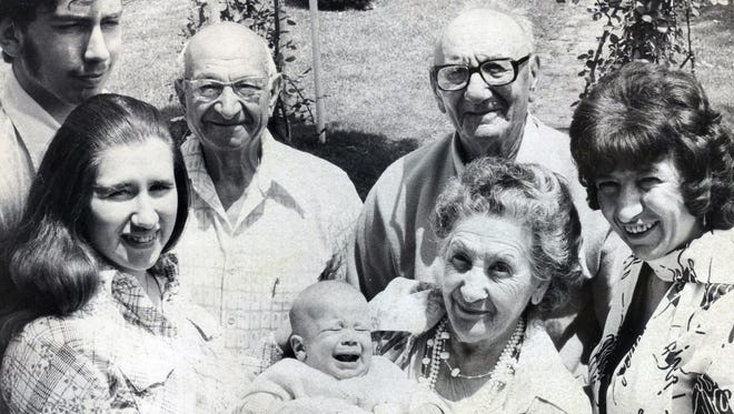 This mulit-generational family photo appeared in the Poughkeepsie Journal in 1976. From left are Mr. and Mrs. David Wardell, Mr. and Mrs. Dominick Cervone holding their great-grandson, David Allen Wardell Jr. (son of Mr. and Mrs. David Wardell), Mrs. Cervone's father and great-great grandfather to David Allen Wardell Jr., Frank Vallo, and Mrs. Wardell's mother, Emily DiStasio.