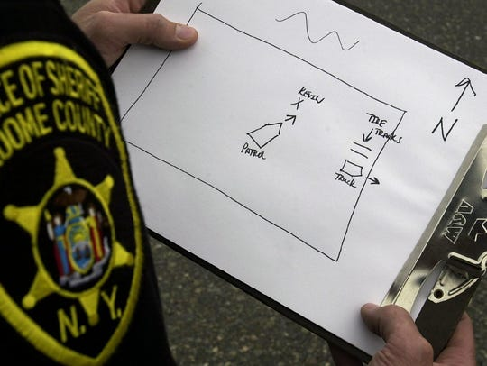 Broome County Sheriff Sgt. Mark Oliver with a map of