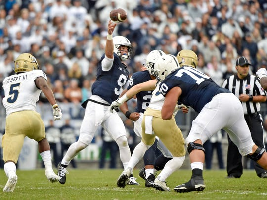 Penn State quarterback Trace McSorley throws a pass against Akron in the first half of an NCAA Division I college football game Saturday, Sept. 2, 2017, at Beaver Stadium. Penn State, fresh off a Big 10 Championship win, shut out Akron 52-0 in its season opener.