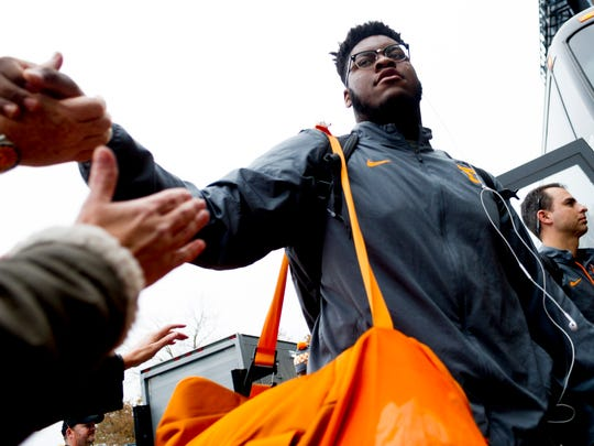 Tennessee offensive lineman Trey Smith (73)  greets