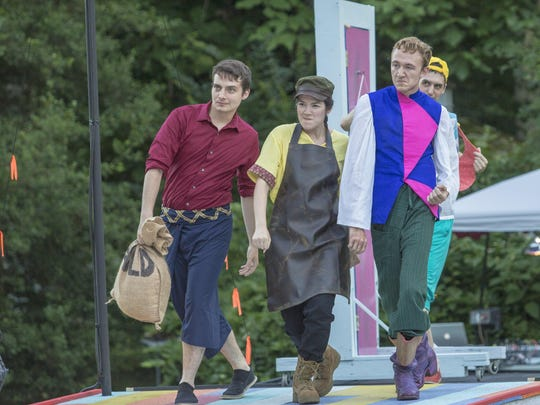 """Starring in """"A Comedy of Errors"""" at Rockwood Park are (from left) Luke Brahdt (Antipholus of Ephesus), Twoey Truong (Angelo) and James Reilly (Balthasar), with Brian Reisman (Dromio of Ephesus) walking behind the trio."""