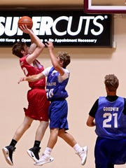 Forsetburg's Skyler Sandusky (left) shoots over Happy's