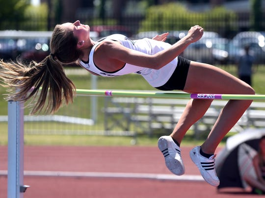 Knoxville Carter's Shelby Reynolds hits the bar as she attempts the high jump during the Spring Fling Girls Outdoor Pentathlon A-AA on Monday, May 23, 2016.