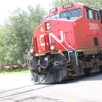 A Canadian National train passes through Stevens Point near Karner and West Clark streets.
