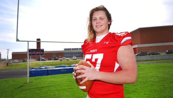 Lincoln High offensive lineman Grant Treiber Thursday,