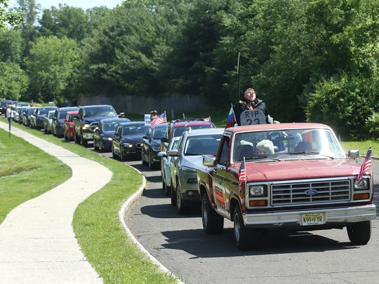 The People's Motorcade from Ten Eyck Park in Branchburg passing outside Donald Trump's Bedminster golf club, where the President held a fundraiser for  U.S. Rep. Tom MacArthur to highlight their opposition to the MacArthur/Trump amendments to the American Health Care Act and the elimination of affordable and accessible healthcare for 23 million Americans.