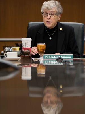 Michigan State University President Lou Anna Simon resigned on Wednesday evening.