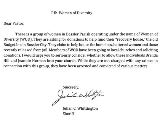 Letter sent to churches by Bossier Parish Sheriff Julian